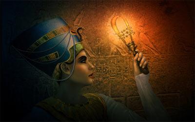 Egyptian goddess holding a sistrum