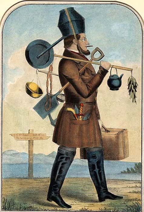 he gold mania of 1848 and 1849 inspired a number of satirical cartoons such as this comical print. The gold hunter is loaded down with every conceivable appliance - much of which would be useless in California.