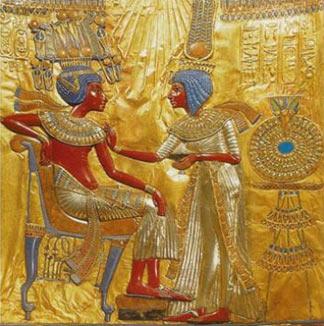 A gold plate found in Tutankhamun's tomb