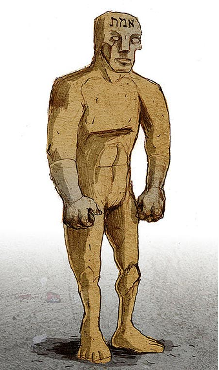 The golem is first formed in the shape of a human being. Illustration of a golem by Philippe Semeria. The Hebrew word for Truth, one of the names of God, is written on his forehead.