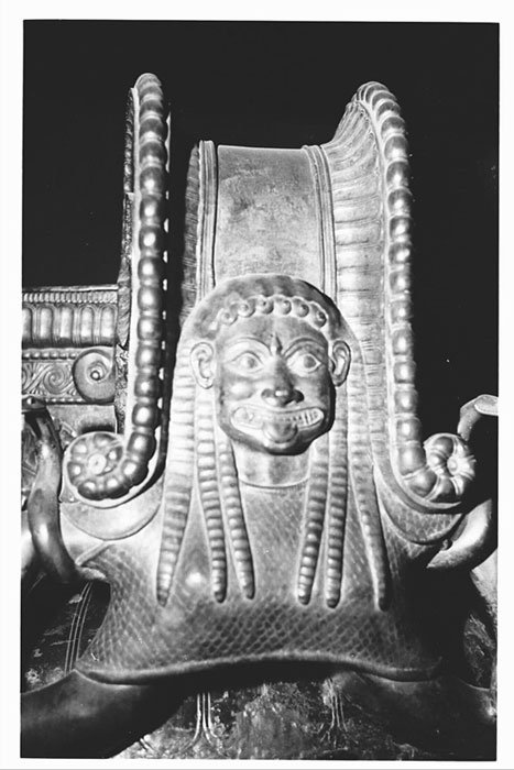 A Gorgon head is on the outside of each of the krater's three handles found in Vix, Burgundy, France.
