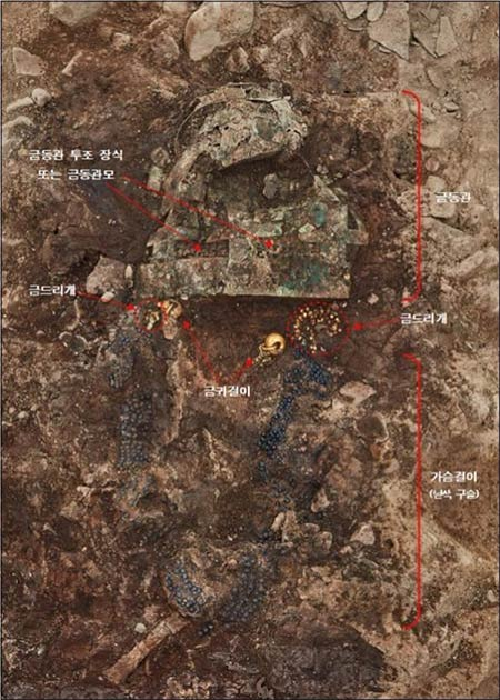Grave artifacts, ranging from a gilt-bronze coronet to shoes, have been discovered in an elite Silla Kingdom tomb, likely built 1,500 years ago. (Korea Cultural Heritage Administration)