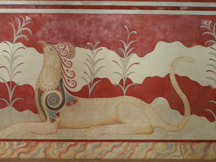 "Griffin fresco in the ""Throne Room"", Palace of Knossos, Crete"