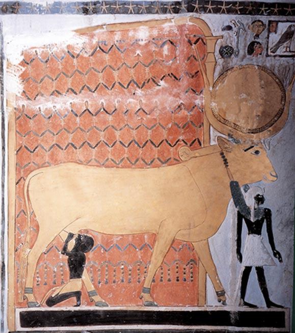 Hathor as a cow suckling a pharaoh.