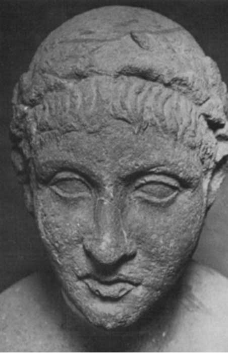 So-called head of Ennius found at the tomb.
