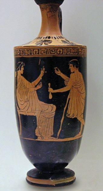 A hetaera and her client. Attic red-figured lekythos by the Painter of Athens (eponymous vase), ca. 460–450 BC. Found in Eretria. National Archaeological Museum in Athens. (Marsyas/CC BY SA 2.5)
