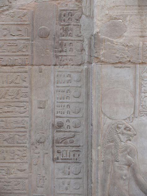 A section of the hieroglyphic calendar at the Kom Ombo Temple, displaying the transition from month XII to month I. (Ad Meskens / CC BY-SA 3.0)