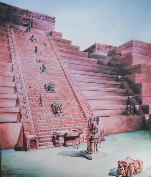 Painting of the hieroglyphic stairway, Copán, Honduras (Scott & Emily/Flickr)