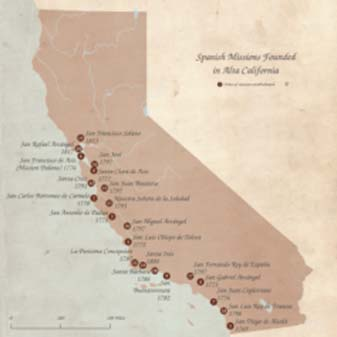 The horse and mule trail known as El Camino Real as of 1821 and the locations of the 21 Franciscan missions in Alta California (click to zoom).