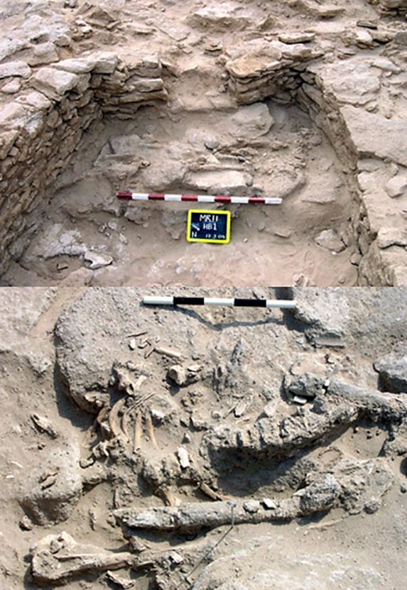 A human skeleton that was found in 2004 was placed on a stone platform at the southern end of a room. (Top) Detail of the skeleton. (Bottom)