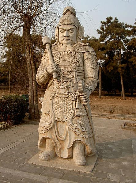One of the three human statues that line the Spirit Way, Changping, China.