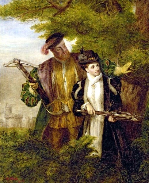 An early-20th-century painting of Anne Boleyn, depicting her deer hunting with the King.