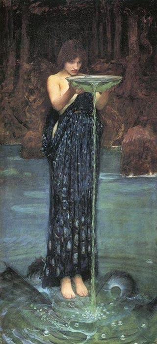 A woman practicing hydromancy. 'Circle Invidiosa' by John William Waterhouse