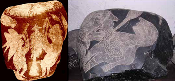 The stone on the left depicts a man looking through a telescope, while the stone on the right appears to show heart surgery