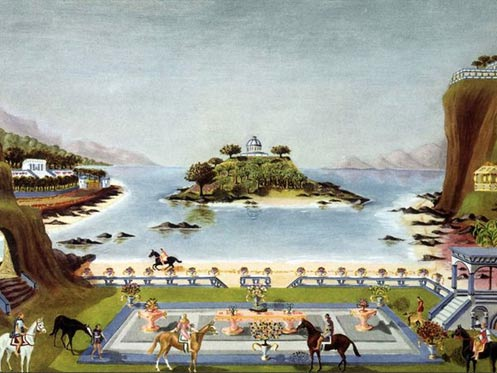Illustration by Sir Gerald Hargreaves showing a utopian scene of the mythical land of Atlantis