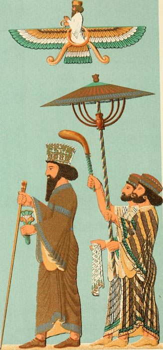 Illustration of Darius with his Parasol Bearers. 1904.