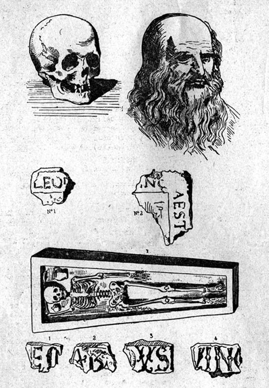 An illustration of Leonardo da Vinci's presumed remains in Amboise, France.