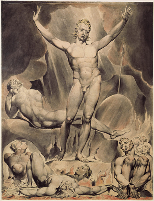 William Blake's illustration of Satan as presented in John Milton's Paradise Lost.