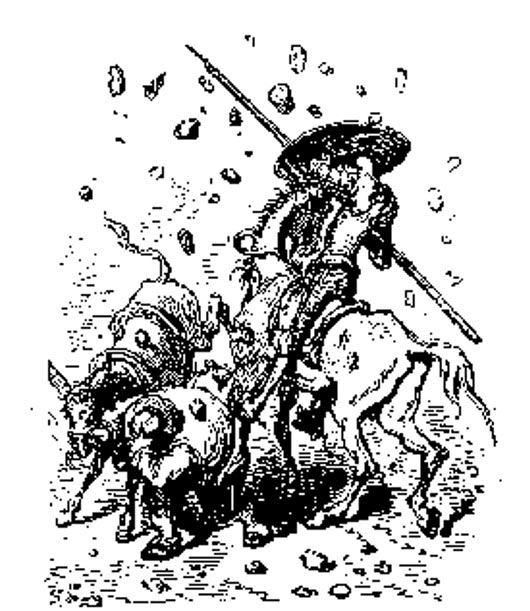 "An illustration of a rain of stones from ""Don Quixote."""