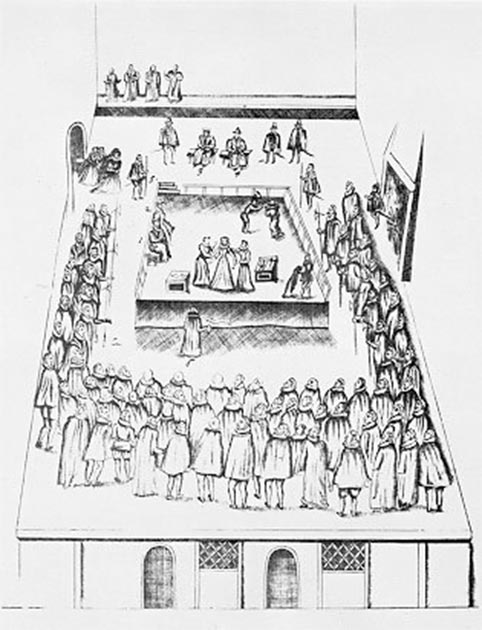 Contemporary illustration of the execution of Mary Stuart, Queen of Scotland, from Robert Beale's 1587 book, The Order and Manner of the Execution of Mary Queen of Scots. (Public Domain)