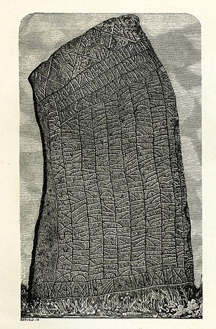 An 1877 image of the Rök runestone from Östergötland, Sweden.