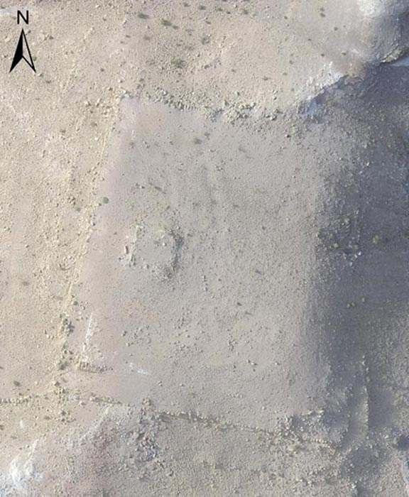 An overhead image of the monument photographed from a drone.