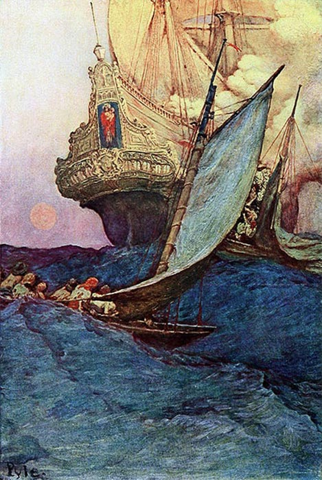 An Attack on a Galleon: illustration of pirates approaching a ship by Howard Pyle (1905) (Public Domain)