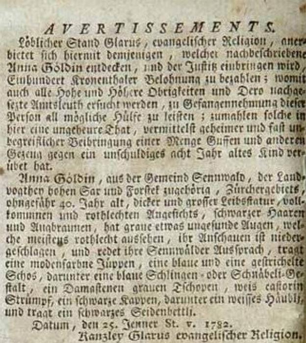 Advertisement of reward for Anna Göldi's capture in Zürcher Zeitung. (Public Domain)