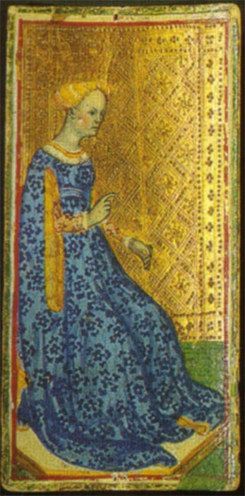 The Queen of Staves from the Visconti-Sforza deck. Attributed to Bonifacio Bembo (15th century). (Public Domain)