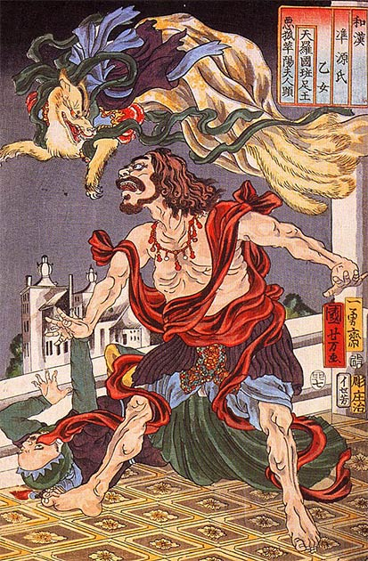 Prince Hanzoku terrorized by a nine-tailed fox (Utagawa Kuniyoshi / Public domain)