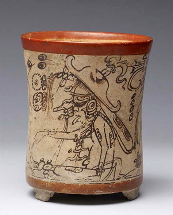 Ah-Muzen-Cab or Mok Chi, shown with insect wings, perhaps patron deity of beekeepers, on a codex-style Maya vessel. ( Public Domain )