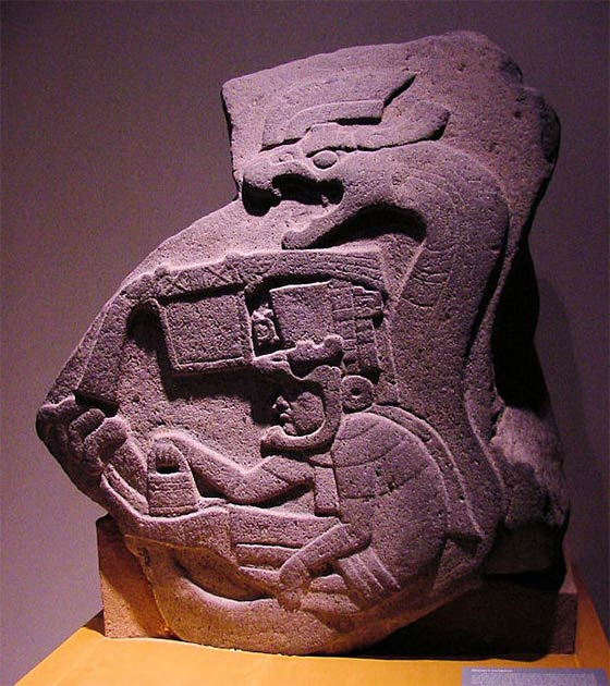 A photo of La Venta Stela 19, the earliest known representation of the Feathered Serpent in Mesoamerica. (Audrey and George Delange)