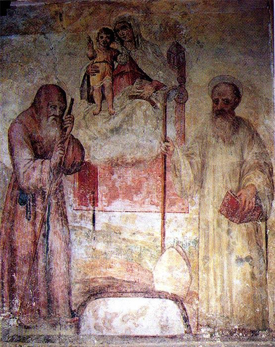 Gioacchino da Fiore, on the left, and San Francesco di Paola in an ancient fresco.(Public Domain)