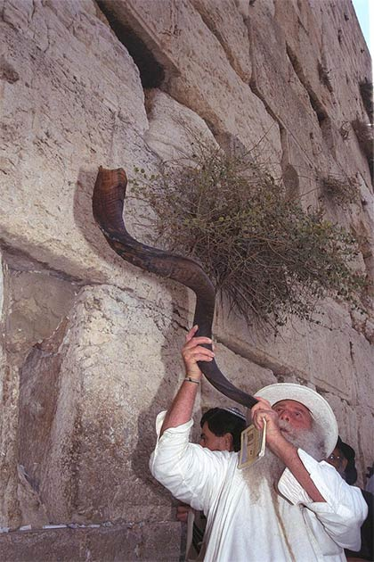 Blowing the shofar at Jerusalem's Western Wall during the eve of Rosh Hashanah. (Government Press Office (Israel / CC BY-SA 3.0)