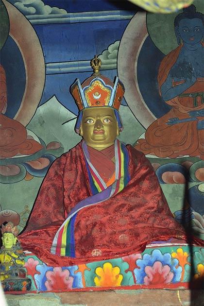 Statue of the Bhutanese Saint Pema Lingpa, who made the Burning Lake a sacred site, in a temple in Tsakaling Gewog, Bhutan. (Christopher J. Fynn / CC BY-SA 3.0)