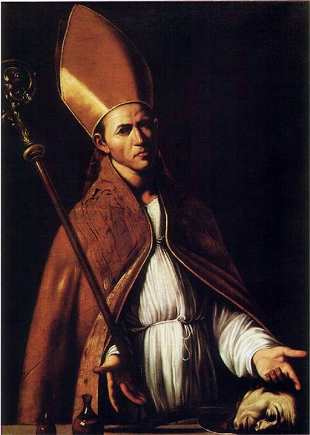 An early portrait of Saint Januarius. Note the two blood ampoules in the lower left corner. (Louis Finson / Public domain)