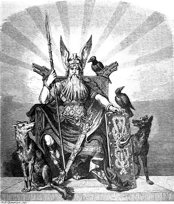 Odin, the All-Father of Nordic Gods by Carl Emil Doepler (1824-1905) - Wägner, Wilhelm. 1882. Nordisch-germanische Götter und Helden. (Public Domain)