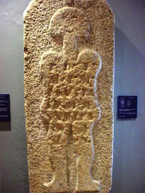 "The stele dubbed ""astronaut of Casar"" is exhibited in the Caceres Museum, Caceres, Spain. (verpueblos)"