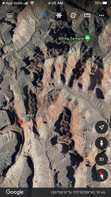 Geological formations in the Grand Canyon are given curious names. Source: Google maps
