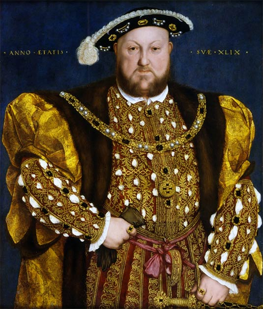 Portrait of King Henry VIII (1491-1547) painted in 1540: 7 years before death and 4 years after his last fall from a jousting horse. (Hans Holbein / Public domain)
