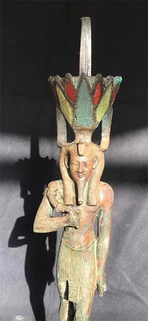 A statue of the god Nefertem found with wooden coffins in the Saqqara tombs. (Egyptian Ministry of Tourism and Antiquities)