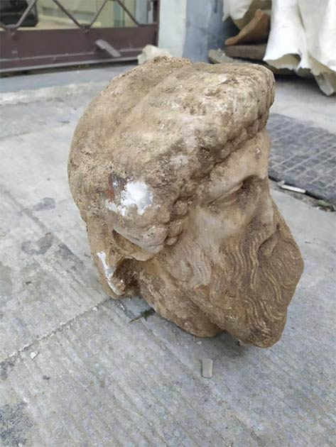 The Greek Ministry of Culture has announced the unexpected find of an ancient head of Hermes during construction work in Athens. (Greek Ministry of Culture)