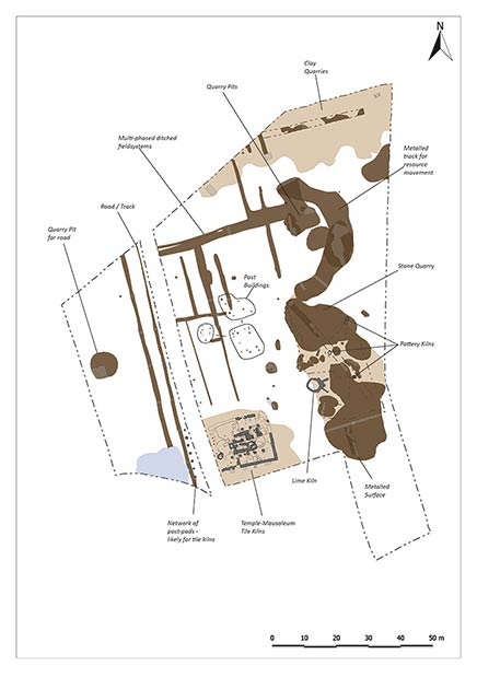 This site plan shows the key features recorded during Oxford Archaeology East's investigations at the Priors Hall site.  (Oxford Archaeology East)
