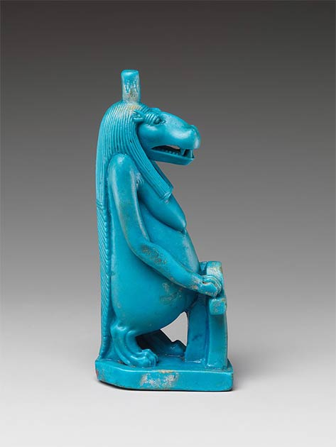 Statuette of the goddess Taweret in its classic Egyptian hippo representational form. (Metropolitan Museum of Art / CC0)