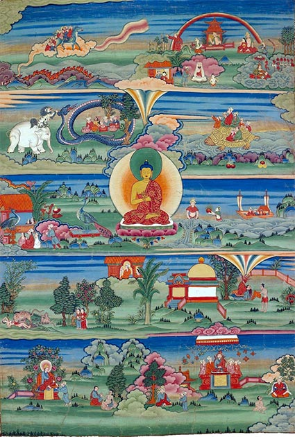 A Bhutanese painted thangka of the Jatakas, conveys the stories of Buddha's past lives. (Levels / Public Domain)