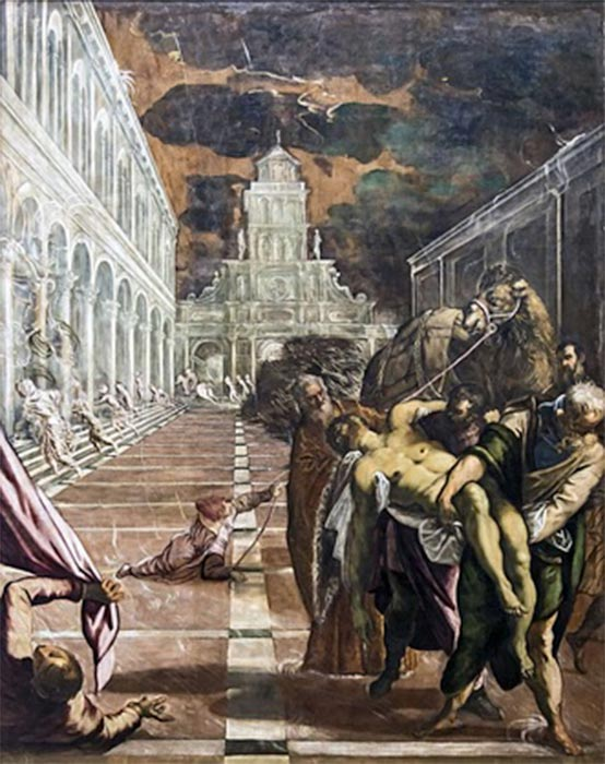 Venetian merchants with the help of two Greek monks take Mark the Evangelist's body to Venice, by Jacopo Tintoretto (1562) (Public Domain)