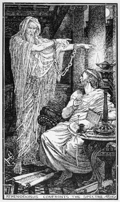 The Greek Stoic Philosopher Athenodorus Rents a Haunted House by Henry Justice Ford (c. 1900) (Public Domain)