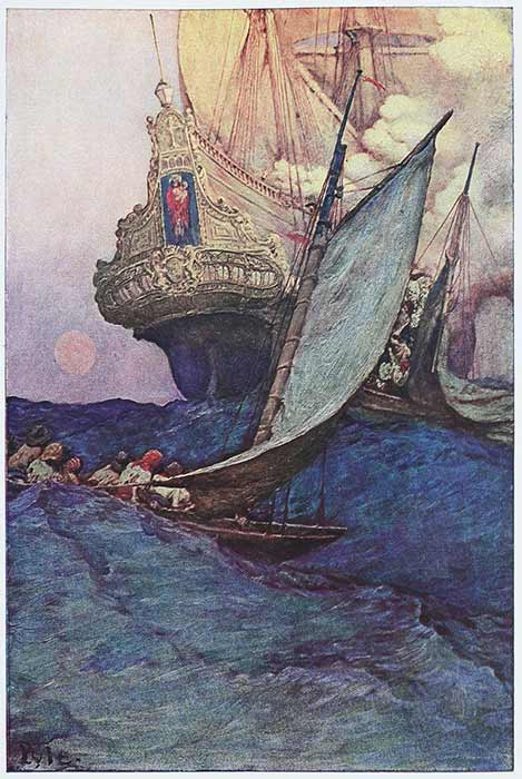An Attack on a Galleon in Howard Pyle's Book of Pirates (1905) Delaware Art Museum (Public Domain)