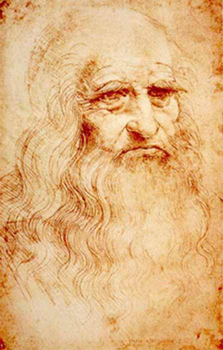 Presumed self-portrait of Leonardo (c. 1510) at the Royal Library of Turin, Italy