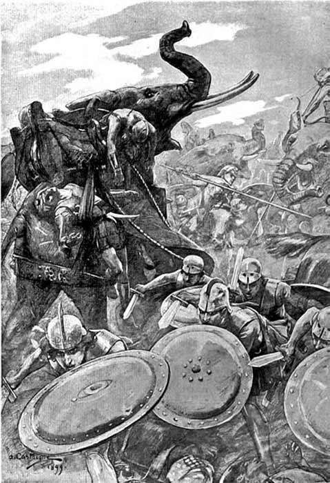 The phalanx attacking the center at Hydaspes at modern-day Punjab Province, Pakistan, when the Macedonian Empire annexed large areas of the Punjab region by Andre Castaigne (1911)(Public Domain).
